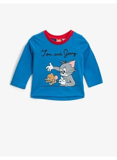 Koton Tom & Jerry Lisansli Baskili Bisiklet Yaka Uzun Kollu Tisört Lacivert